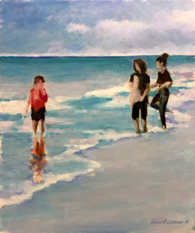 "#1305 ""BEACH AT DUSK, WITH THREE FIGURES"""